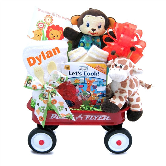 Baby Einstein Jungle Gender Neutral Baby Gift Basket Radio Flyer Wagon