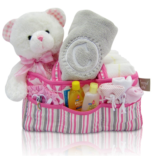 Baby Girl's First Teddy Bear & Diaper Caddy Gift Basket Tote - Pink