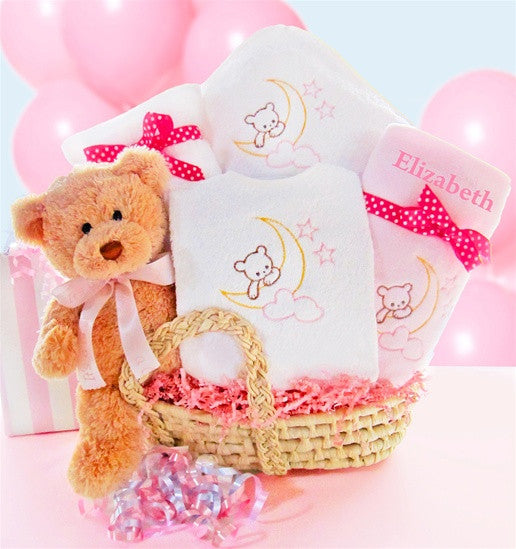 Baby Girl Special Delivery Moses Gift Basket - As Your Baby Grows Gift Boutique