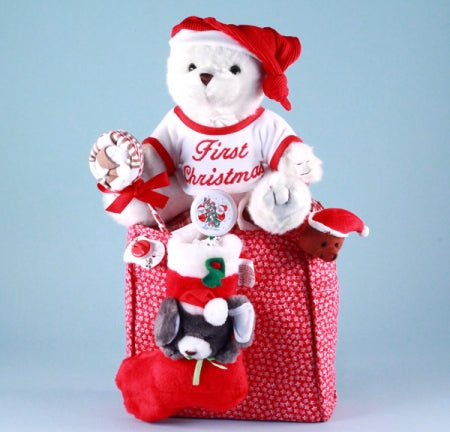 Baby First Christmas Bear Tote Bag Holiday Gift Set
