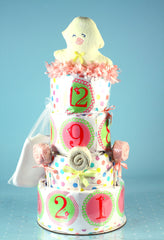 Belly Stickers Baby Shower Diaper Cake - Girl