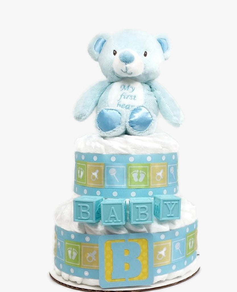 Blue Plush Teddy Bear Baby Boy Diaper Cake