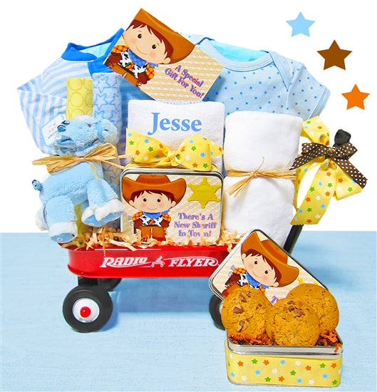 Giddy Up Cowboy Baby Boy Gift Basket Radio Flyer Wagon