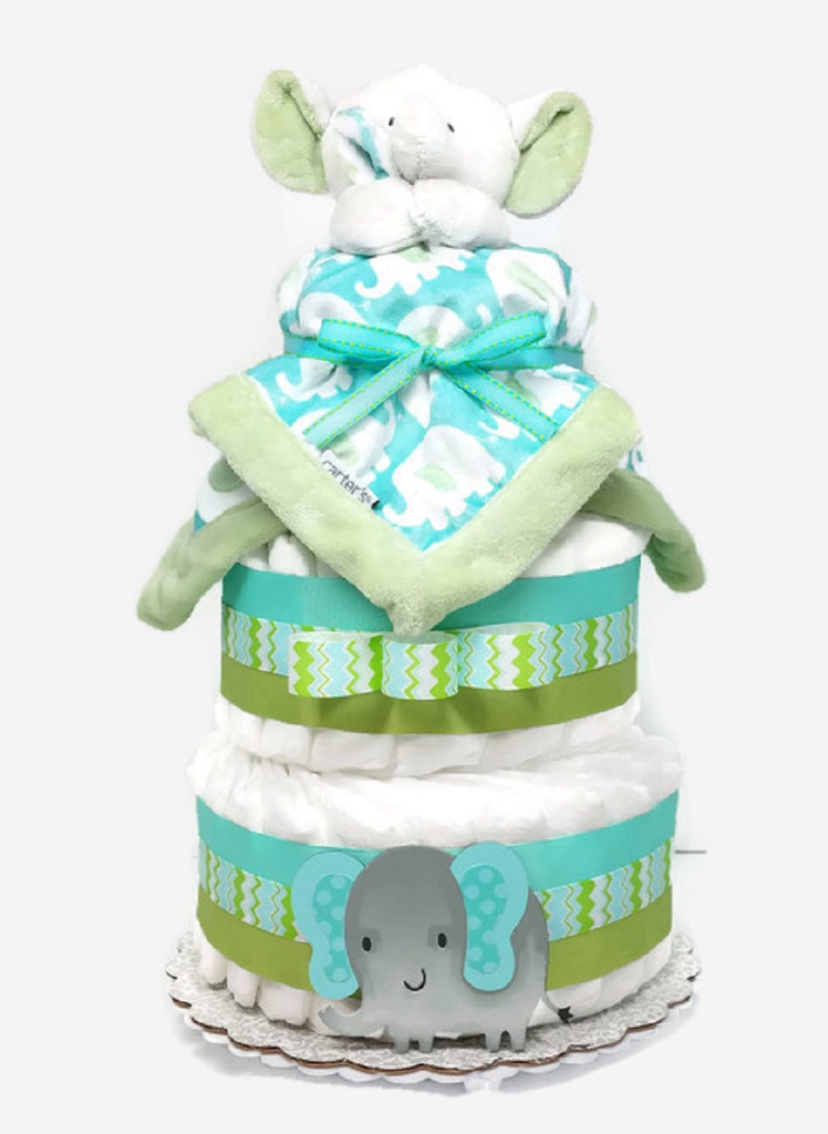 Baby Boy Elephant Diaper Cake With Blanket