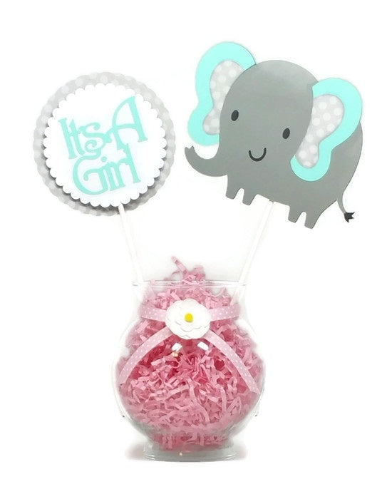 Baby Girl Mint Green Elephant Cake Toppers Centerpiece Sticks