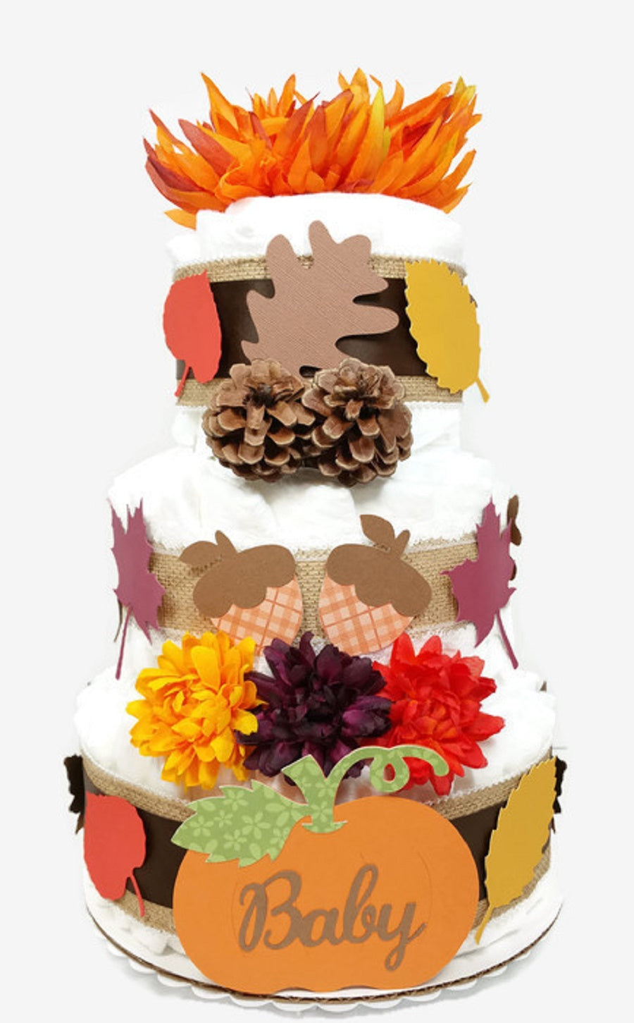 Fall Baby Shower Diaper Cake Gender Neutral Party Centerpiece