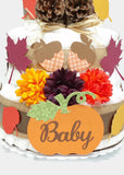 Fall Baby Diaper Cake Gender Neutral Baby Shower Centerpiece With Autumn Leaves & Pumpkin