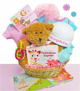 G is for GIRL Baby Gift Basket with Personalized Cap - As Your Baby Grows Gift Boutique