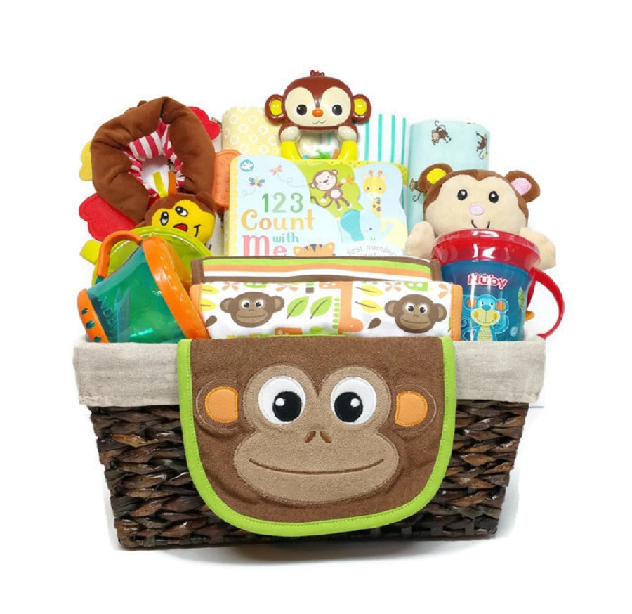 Jungle Monkey Gender Neutral Baby Gift Basket