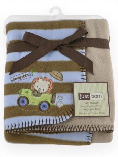 Just Born Reversible Fleece Baby Boy Blanket - Blue and Tan