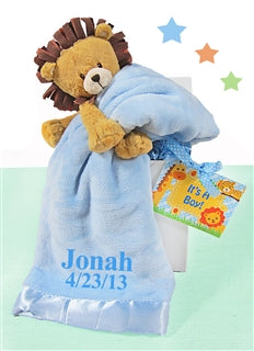 Plush Lion Blue Blanket Baby Boy Gift Set