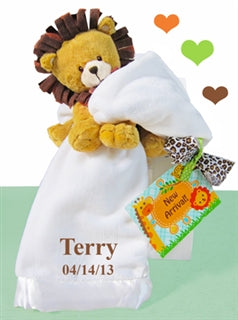 Plush Lion White Blanket Gender Neutral Baby Gift Set