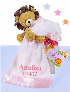 Plush Lion Pink Blanket Baby Girl Gift Set