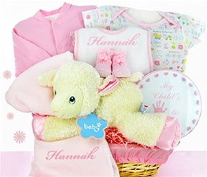 Little Lamb Nap Time Baby Girl Gift Basket