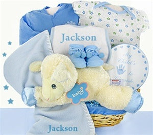 Little Lamb Nap Time Baby Boy Gift Basket
