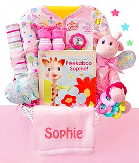 Safari Giraffe Baby Girl Gift Basket