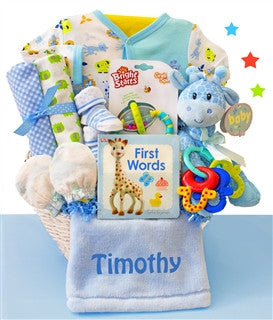 Safari Giraffe Baby Boy Gift Basket