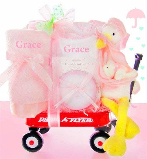 It's A Baby Girl! Stork Delivery Gift Basket Radio Flyer Wagon - As Your Baby Grows Gift Boutique