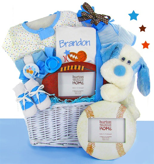 Sports Theme Baby Boy Gift Basket Puppy Personalized Bib