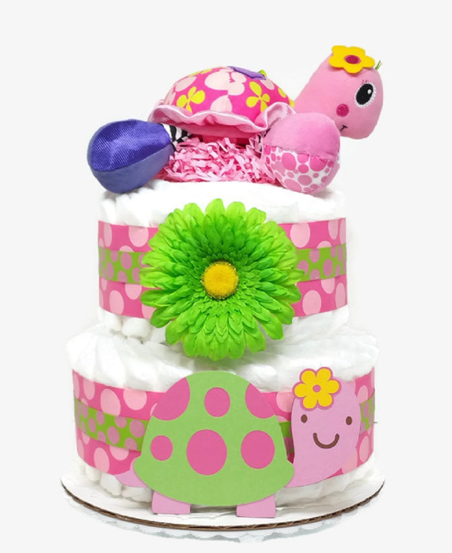 Pink Turtle Baby Girl Diaper Cake, 2 Tier Baby Shower Centerpiece, Party Decoration