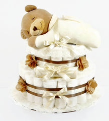 Slumber Bear Gender Neutral Baby Diaper Cake - As Your Baby Grows Gift Boutique - 1