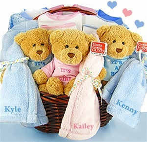 Triplets and Quadruplets Baby Gift Basket (Free Personalization) - As Your Baby Grows Gift Boutique