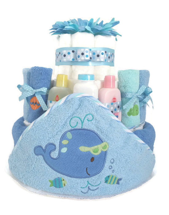 Blue Whale Under The Sea Baby Boy Diaper Cake 1
