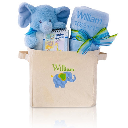 Plush Elephant Welcome Home Baby Boy Gift Basket Tote