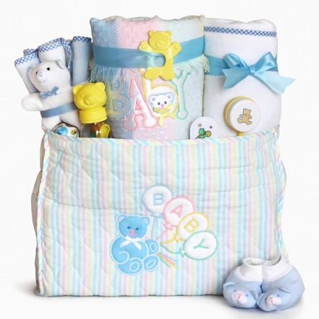 Deluxe Baby Boy Diaper Tote Bag Gift Set
