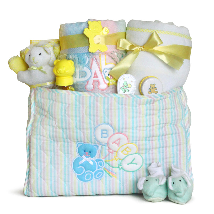 Deluxe Gender Neutral Baby Diaper Tote Bag Gift Set