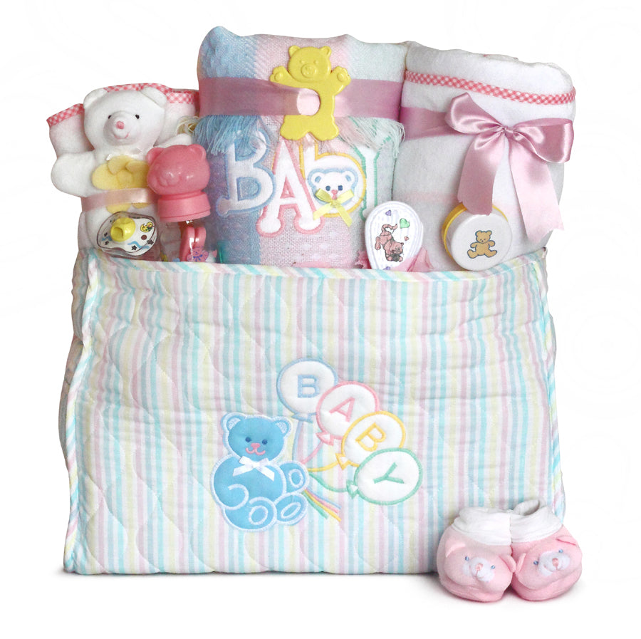 Deluxe Baby Girl Diaper Tote Bag Gift Set