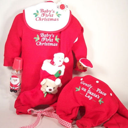 Baby First Christmas Outfit Santa Hat Stocking Holiday Gift Set