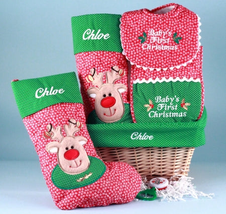 Baby's First Christmas Stocking Reindeer Holiday Gift Basket