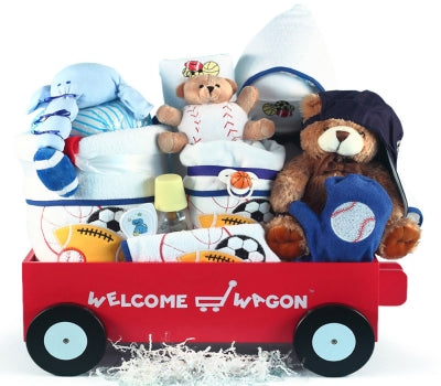 Baseball Deluxe Welcome Wagon Baby Boy Gift Basket