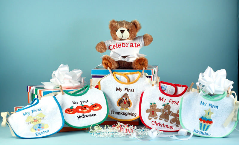 Baby First Holiday Bibs Bear Gift Set Christmas Easter