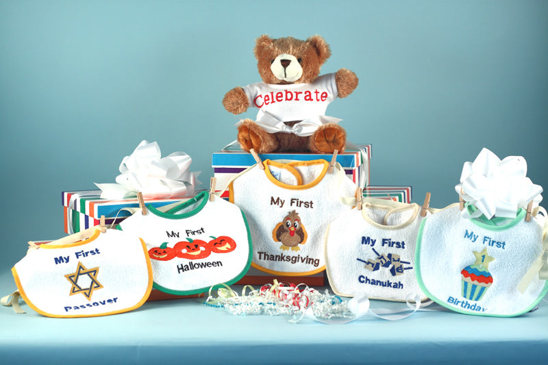 Baby First Holiday Bibs Bear Gift Set Chanukah Hannukah Passover