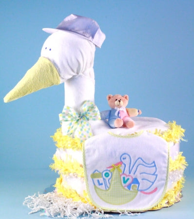 The Stork Delivers Gender Neutral Baby Diaper Cake Centerpiece - Yellow