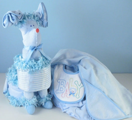 Blue Puppy Baby Boy Diaper Cake with Surprise Gift