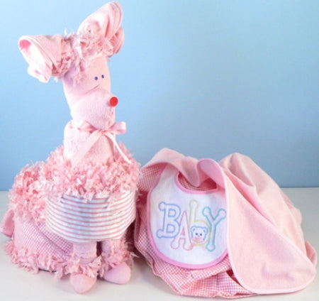 Pink Puppy Baby Girl Diaper Cake with Surprise Gift