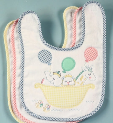 Noah's Ark Baby Boy Bib With Blue Gingham Trim - As Your Baby Grows Gift Boutique