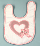 Satin Heart Baby Girl Bib With Pink Gingham Trim - As Your Baby Grows Gift Boutique