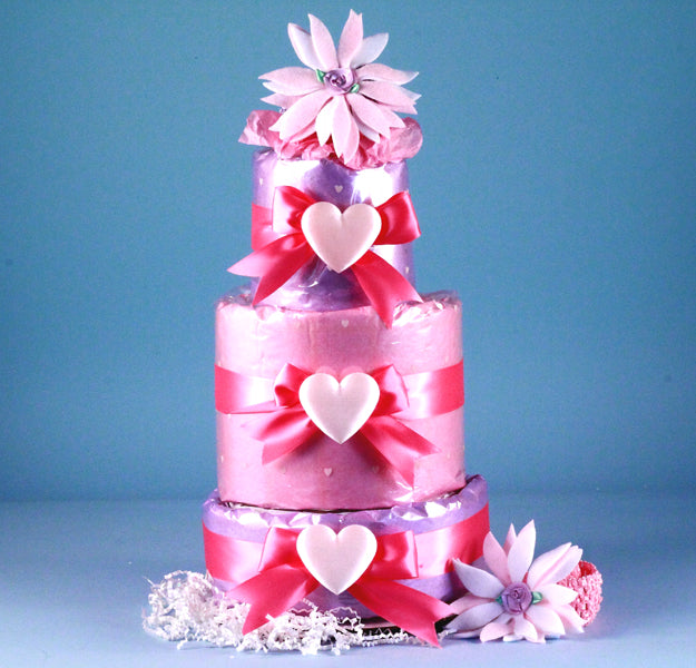 Pink Heart Baby Girl Diaper Cake Shower Centerpiece
