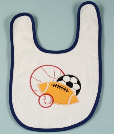 Sports Balls Baby Boy Bib Blue Trim