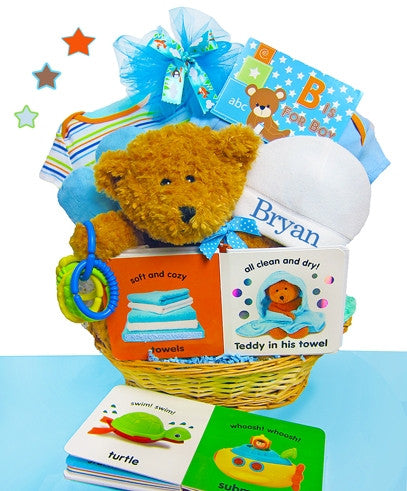 B is for BOY Baby Gift Basket with Personalized Cap - As Your Baby Grows Gift Boutique
