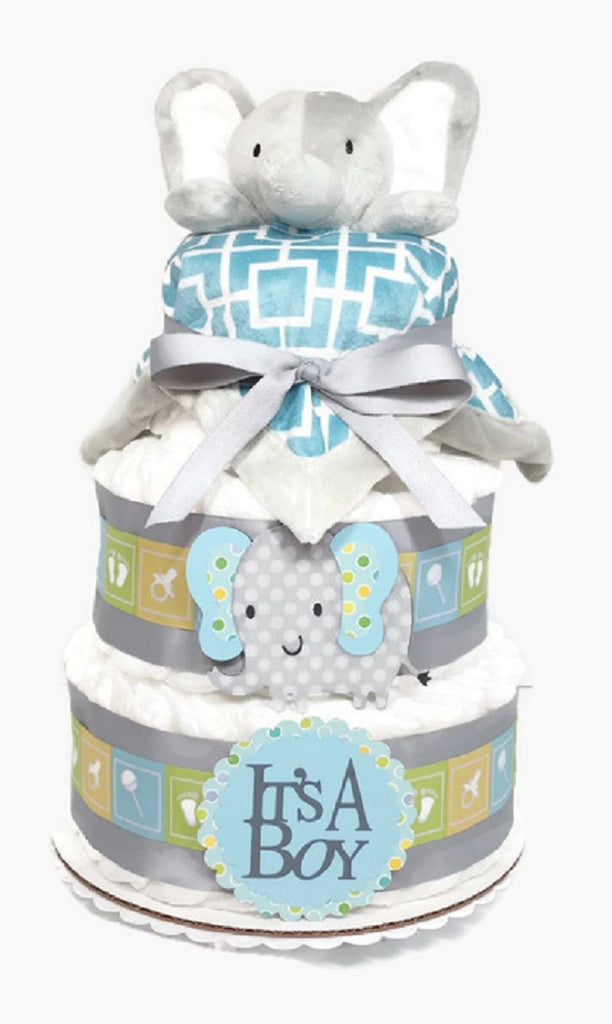Gray Elephant Baby Boy Diaper Cake with Blanket 3 Tier Shower Centerpiece