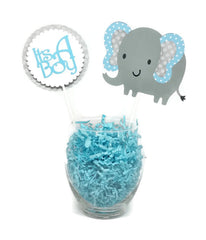 Baby Boy Blue Elephant Polka Dot Cake Toppers Centerpiece Sticks Baby Shower Decor
