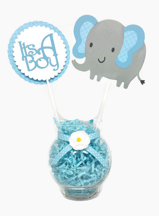 Baby Boy Elephant Centerpiece Sticks Cake Toppers Blue Plaid
