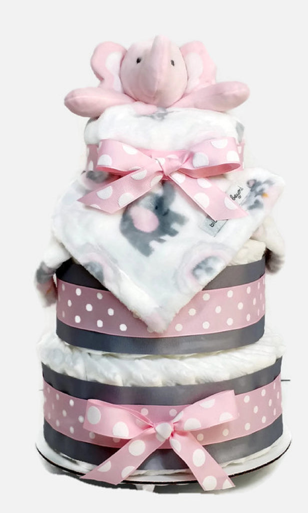 Pink Elephant Baby Girl Diaper Cake with Blanket 3 Tier Shower Centerpiece