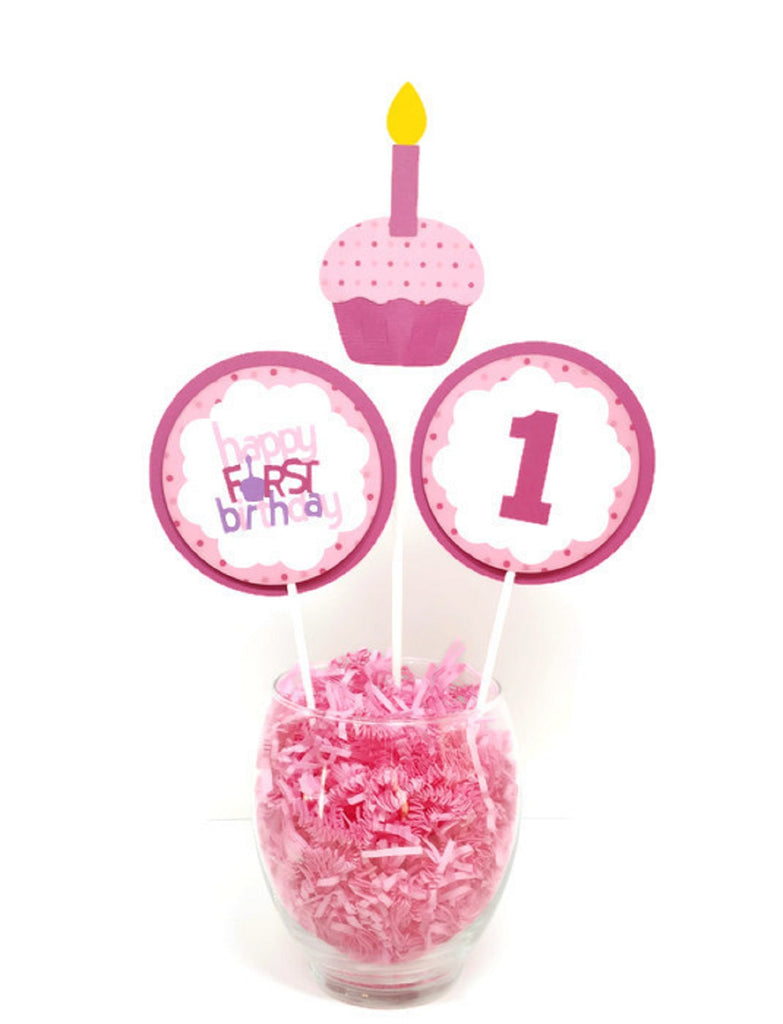 First Birthday Girl Centerpiece Sticks Cake Toppers Pink Cupcake