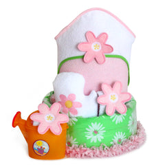 Flower Power Baby Girl Diaper Cake with Bath Essentials
